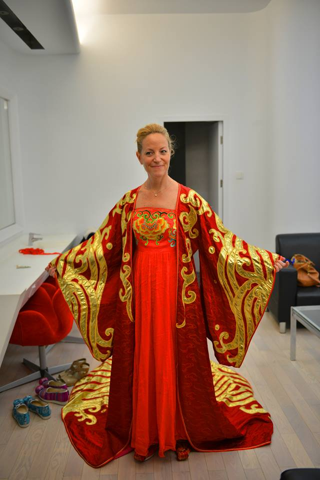 Costume fitting for Turandot at the Guangzhou Opera House
