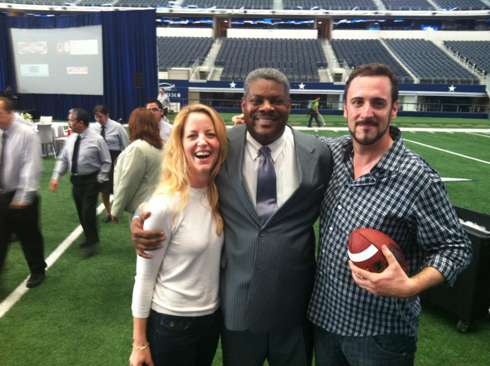 Me and Christian Van Horn with our wonderful Cowboy Stadium ambassador, Phil Whitfield