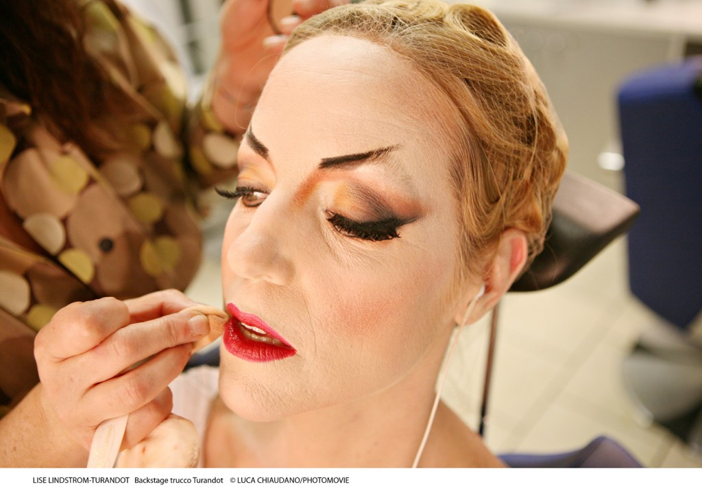 In makeup for Turandot at La Scala